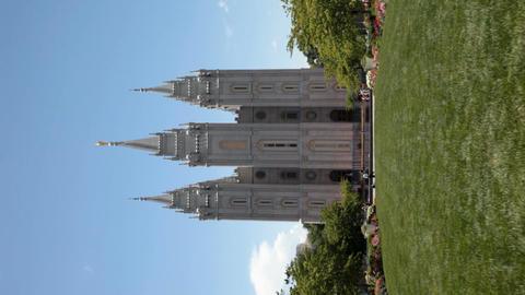 Mormon SLC Temple lawn Verticle P HD 0695 Footage