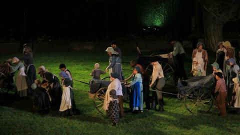 Mormon handcart pioneers night P HD 1025 Footage