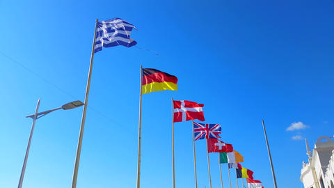 Beautiful Flags of The World Wave on a Wind Footage