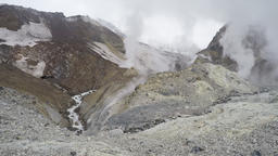 Crater of active volcano: hot springs, thermal and fumarole field Footage