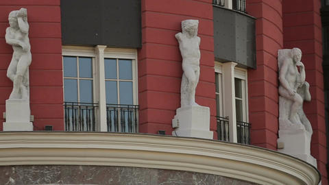 Building facade decorated with antique sculptures, beautiful urban design Footage