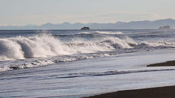 Evening beach of Pacific Ocean in Kamchatka Peninsula Footage