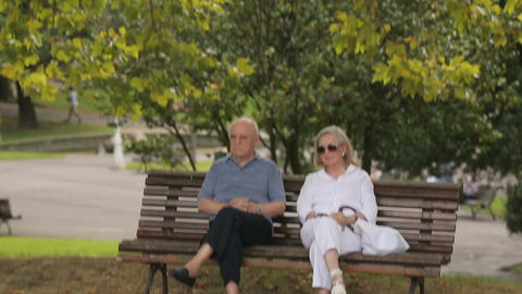 Senior man and woman having rest in city garden, social policy, pension reform Footage