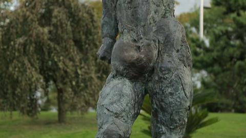 Antique female statue exhibited in central municipal garden, sculpture art Footage