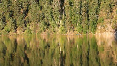 Mountain lake canoe P HD 1148 Footage