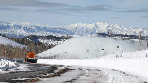 Mountain snow blower around turn P HD 6340 Footage