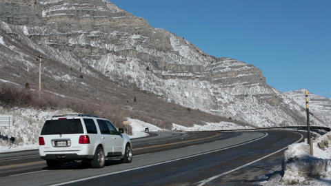 Mountain winter snow traffic highway travel fast timelapse HD 0214 Footage