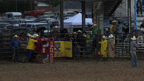 Muddy rodeo cowboys at chute getting ready HD 278 Footage