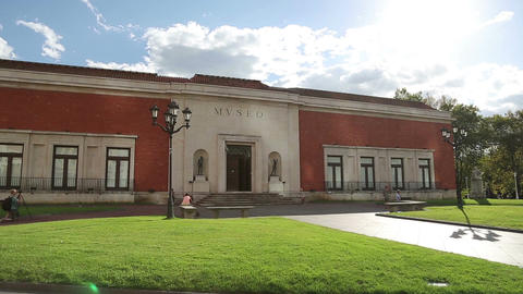 Museum of Fine Arts situated in Bilbao, Spain. Horizontal panorama of building Footage