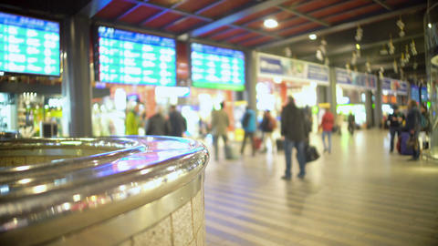 People walking at airport terminal. Timetable screens of arrivals and departures Footage