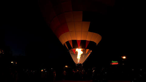 Night glow hot air balloon community festival 4K Footage