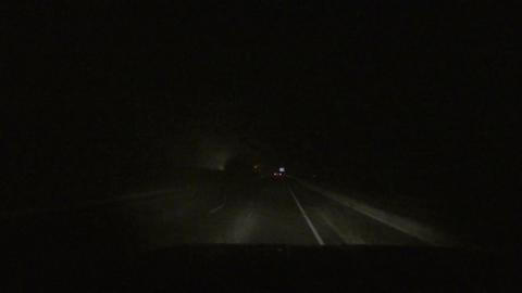 Night snow storm traffic plow driving POV HD 013 Footage