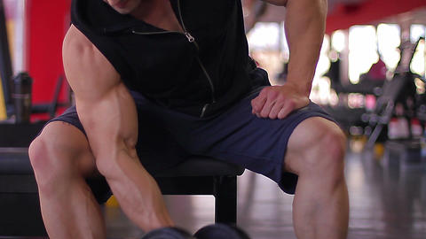 Male heavyweight athlete doing biceps exercises with dumbbells, workout in gym Footage
