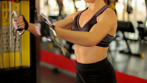 Strong lady working hard in the gym to achieve success at sports competition Footage