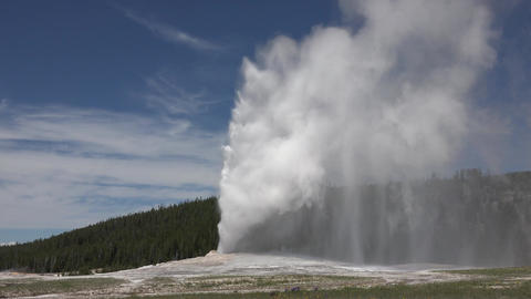 Old Faithful eruption Yellowstone National Park 4K Footage