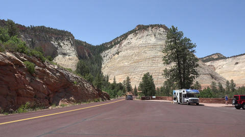 Parking overlook Zion National Park Utah 4K Live Action