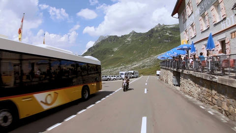 Klausenpass - road over the swiss mountain pass Live Action