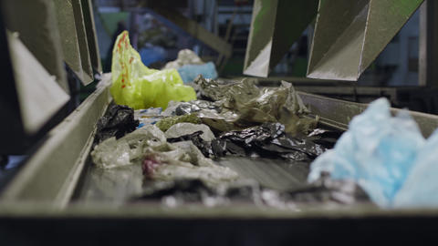 Plastic waste Recycling line. Garbage sorting plant. Sorting of Plastic Bags Live Action