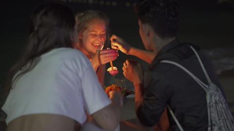 Loy Krathong festival in Koh Tao Thiland Live Action