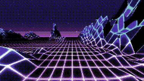 Looped dithered retro background horizon landscape with nlow poly terrain Animation
