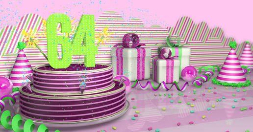Purple round 64 birthday cake decorated with colored sparks and Fotografía