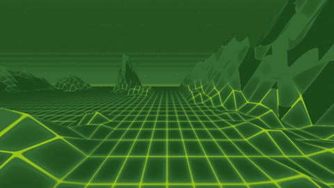 Looped Lowfi Unicolor Retro Landscape with Low Poly Terrain Animation