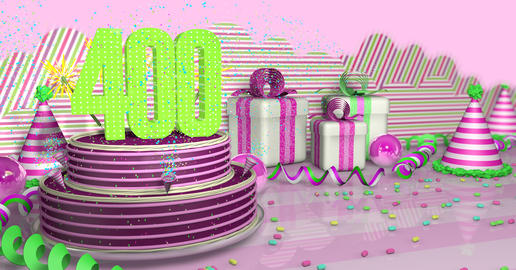 Purple round 400 birthday cake decorated with colored sparks and Fotografía