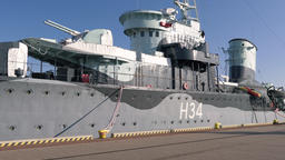 ORP Blyskawica museum ship. Polish Navy destroyer ship during World War II Live Action