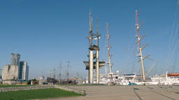 The Three Masts Monument in Gdynia city, Poland Live Action