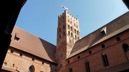 Tower and the courtyard of high castle on Malbork Live Action