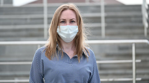 portrait of a girl in a mask. protection against viruses and diseases covid-19 Live Action