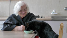 Old woman and black cat. Friends Live Action