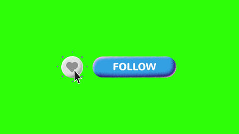 Grain Shaded Blue Like and Follow Buttons on Green Screen and Luma Matte Videos animados