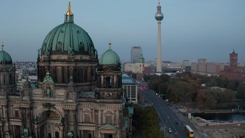 AERIAL: Berlin, Germany Cathedral with Alexanderplatz in Background and birds Live Action