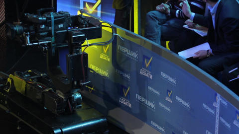 The camera in the TV studio while recording TV broadcast. Media Live Action