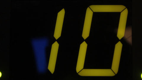 Clock display with electronic scoreboard. Close-up Live Action