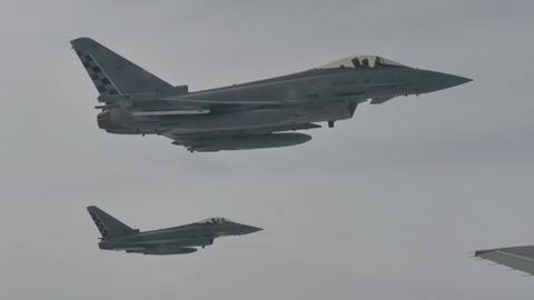 Combat Aircraft Combat Aircrafts in Flight after Aerial Refueling Live Action