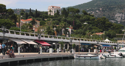 France, Beaulieu, 29 May 2017: Port Saint-Jean-Cap-Ferrat, the famous promenade Live Action