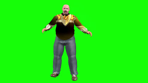 732 4k 3d animated AVATAR fat man tries to reduce weight and make exsercise Animation