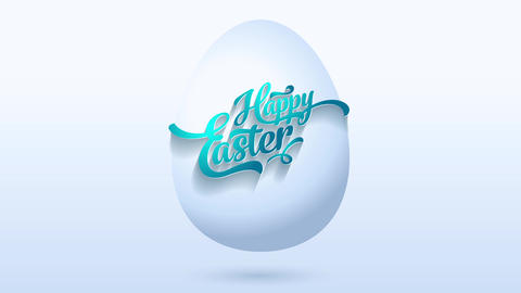 original happy easter greeting card with blue calligraphy getting tied to white digital 3d egg Animation