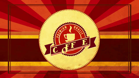 zigzag edge rounded icon for premium quality coffee product brand with vintage design and sunburst Animation