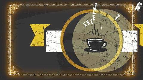 excellent pure americano coffee signpost represented with warm mug graphic on aged texture symbol Animation