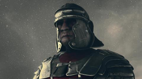 Roman Soldier Wearing Helmet Standing Under Snow Live Action