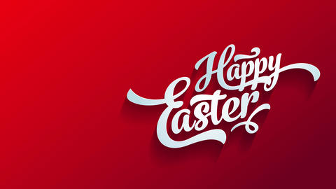 red happy easter reception postcard for embryo hunt banquet with handwriting part with 3d effect on Animation