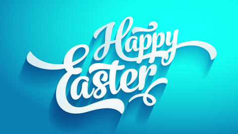 cool happy easter festival invitation on blue background illuminated on top forming shadows under Animation