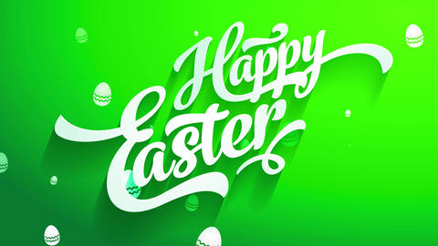 satisfied easter greeting cardboard front with white 3d handwriting forming shade on green croma Animation