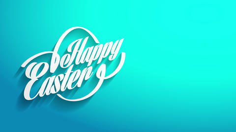 personalized joyful easter handwriting card covering with 3d script and eggs outline over brilliant Animation