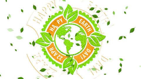 big laughing earth day symbol manipulation recyclable organic materials for environmental Animation