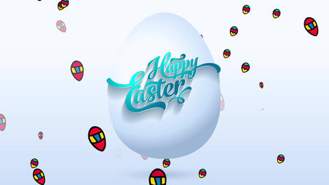 original laughing easter reception cardboard with blue calligraphy getting tied to white numeric 3d Animation