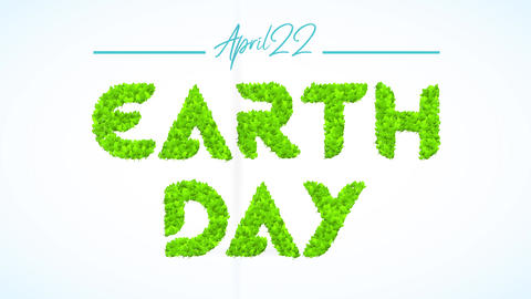 april 22 earth day sign to motivate teamwork to reduce plastic use reuse and recycling for climate Animation